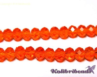 Faceted Glass Briolette Beads, Rondelle Beads 6mm - Orange