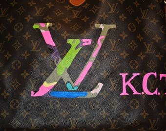 New Custom LV purse, LV without hands and flowers with initals  - sold