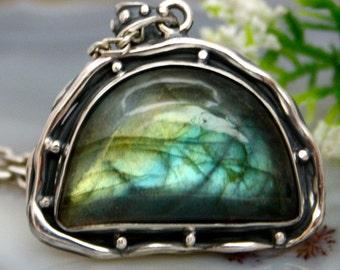 Labradorite Pendant Stone Necklace Sterling Silver Jewelry
