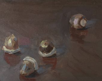 "Acorns, 5""x7"" oil painting on panel, unframed"