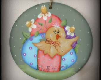 Spring Easter Home Decor Decoration- Wood Ornament-Easter Egg and Chick