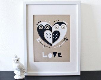 Owl Love Screenprint, Silkscreen, Nursery Art, Kraft