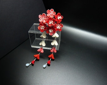 TSUMAMI KANZASHI CHIRIMEN hair accessory hair pin (red)