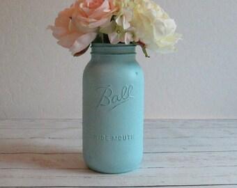 Half Gallon Mason Jar / Light Blue Mason Jar / Shabby Chic Vase / Rustic Wedding Centerpiece / Country Chic Decor / Mason Jar Wedding