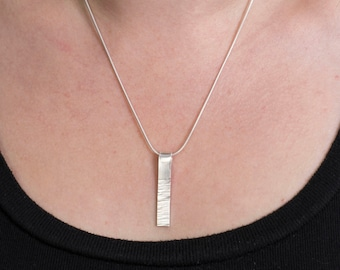 Sterling Silver Textured Bark Bar Pendant Necklace