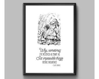 Digital Print – Alice In Wonderland – Six Impossible Things