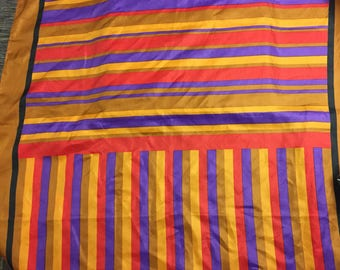 Vintage Gold Striped Scarf Gold, Red,  Purple and Black 26 inch Sq