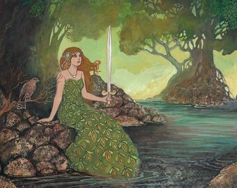 The Lady of the Lake 20x24 Poster Print Aurthurian Legend Medieval Goddess Art