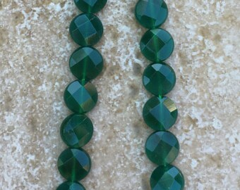 """Round Faceted Green Onyx Beads - FULL 16"""" strand (about 39 beads) - G397"""