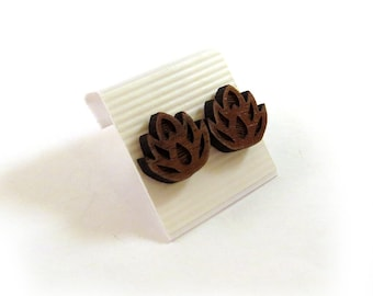 Lotus Flower Walnut Wooden Post Earrings - Sustainable Wood Ear Studs