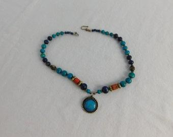 Beautiful Blue Beaded Turquoise or Agate Gemstone Boho Necklace