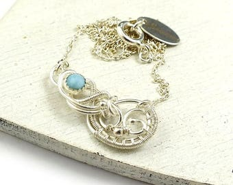 Wire wrapped necklace, larimar jewelry, sterling silver wirework necklace, everyday delicate jewelry
