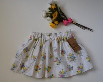 Gathered Skirt - Girl's Skirt - Cotton Skirt - Upcycled - Skirt Size 4/5