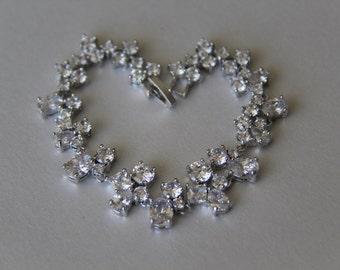 Cubic zirconia bracelet, bridal bracelet, wedding bracelet, bridal jewelry, wedding jewelry