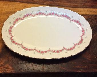 """J.L. Menau Graf Von Henneberg Porcelain Oval Serving Dish 9"""" Germany"""