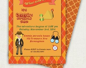 Explorer Birthday Invitation for Girls - Adventure Birthday Party - Treasure Hunt PRINTABLE INVITATION