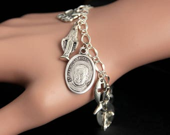 St Maximilian Kolbe Charm Bracelet. Padre Kolbe Bracelet. Catholic Bracelet. Patron Saint Bracelet. Saint Medal Bracelet. Catholic Jewelry.