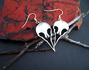 Single bird skulls Full set - Sterling Silver