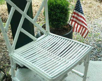 Vintage Pair Regency Faux Bamboo Chippendale Chairs/Pair