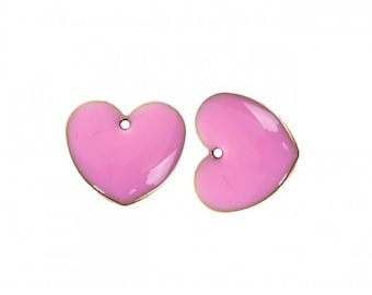 pink heart 15x14mm color 10 enamel charms