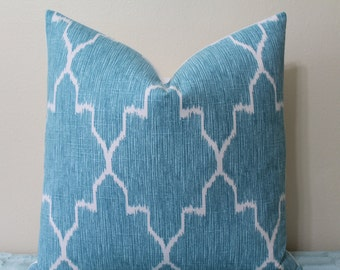 "Monaco Ikat Print Pillow Cover in Mist/Turquoise - 16"", 18"", 20"", 22"" or 24"" Square - Decorative Designer Pillow Cover"