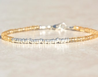 Citrine Bracelet, November Birthstone Bracelet, Yellow Beaded Bracelet, Gemstone Bracelet, Gift for Her, Under 50, Sterling Silver, Citrine
