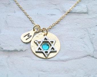 Star of David with Birthstone and initial Necklace, Emerald Birthstone, Gold filled Chain, Birthday gift, Bat Mitzvah Gift, Judaic Jewelry,