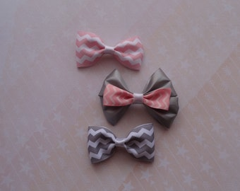 Pink Gray Grey chevron hair bow