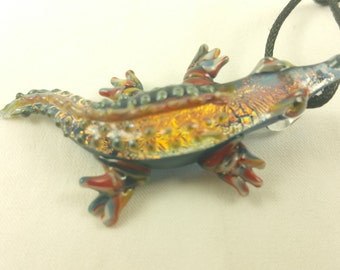 Alligator - Glass Pendant Necklace