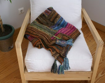 Spicy -  knitted wool Throw-Wool knitted quilt-Wool afghan-Wool knitted blanket-Knitted wool bed cover
