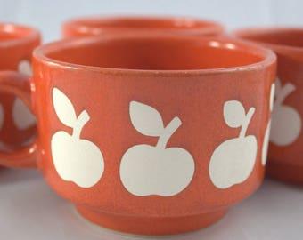 4 X Coffee cup cup Wächtersbach apple apples 70s Graziella-style vintage