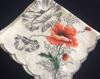 Vintage Ladies' Handkerchief; Red Poppy Floral Hankie; Mother's Day Gift, Hostess Gift