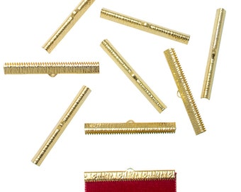 50 pieces  50mm  (2 inch) Gold Ribbon Clamp End Crimps - Artisan Series