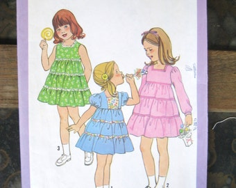 1978 Tiered Girls Dress Vintage Pattern, Simplicity 8429, Size 6, Breast 25