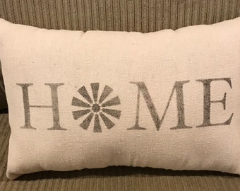 Home Windmill Grain Sack Pillow