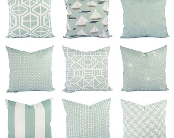 Outdoor Blue Pillow Cover - Outdoor Throw Pillow - Decorative Pillow - Soft Blue Pillows - Patio Pillows - Blue Pillows - Blue Green Pillows