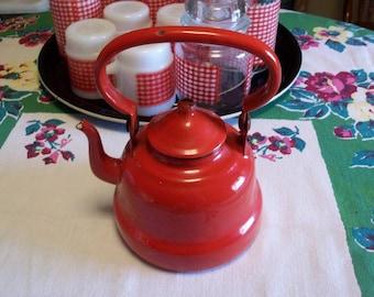 Vintage Red Handled Enamelware Tea Kettle Tea Pot Small Yugoslavia Retro Kitchen Camper