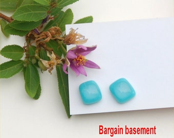 250 Fused glass earrings, aquamarine blue, clear irridized