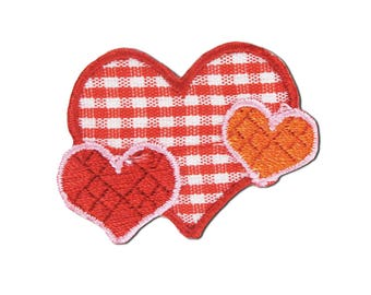 Plaid Hearts Iron On Applique, Love Patch, Heart Iron On Patch, Love Applique, Heart Applique, Fun Patch, Embroidered Patch