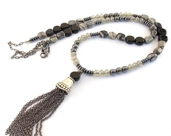 Handmade Long Black Onyx Necklace,  Jasper and Gunmetal Necklace, Jasper Necklace, Silver Necklace, Long Style Necklace, Black Onyx, N032