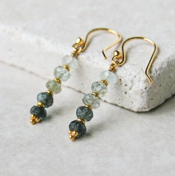 Moss aquamarine ombre earrings