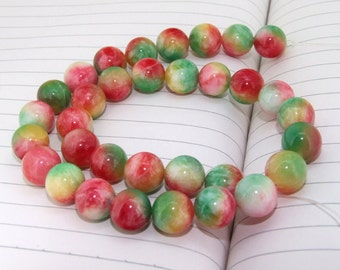 "strand Round Candy Rainbow Jade Beads ----- 12mm ----- about 32Pieces ----- gemstone beads--- 15"" in length"