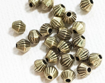 100 antique brass finished bicone spacer beads 4x3.5mm,  metal spacer beads