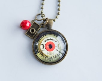 Light Meter Necklace - Photography Jewelry - Gift For Photographer - Camera Pendant - Photog Necklace - Light Meter Glass Pendant Vintage