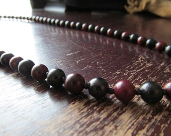 Men's Ebony and Rosewood Necklace, Beaded Necklace, Mens Long Beaded Necklace, Mens Jewelry, Beaded Wood, Long Necklace, Layering Necklace