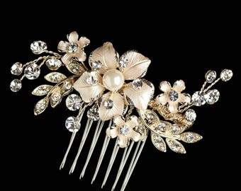 Bridal Hair Comb, Floral, Gold Crystal And Pearl, VIntage Style Pearl Bridal Hair Comb, Crystal Hair Comb, Bridal Hairpiece, Vintage Style