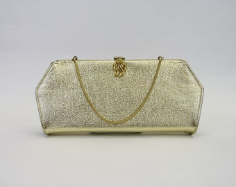 Vintage Fancy 1960s Gold Kiss Lock Clutch Evening Bag (E10364)
