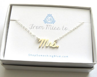 Mrs. Script Necklace • Cursive Mrs Word Jewelry • New Bride • Bridal Shower Gift • Honeymoon Gift • Just Married Word Necklace Sentiment