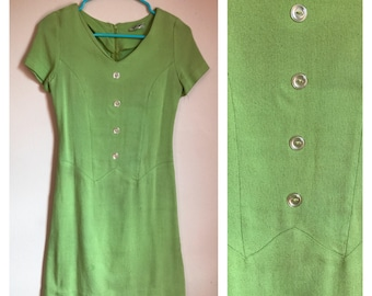Vintage 1960's Lime Green Mod Mini with Button Detail Scooter Dress XS extra small