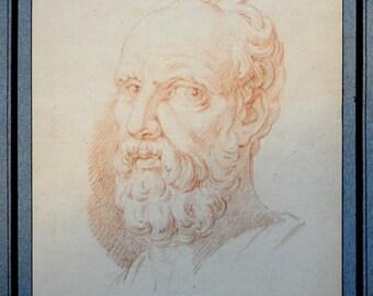 Portrait of Aristotle 18th century French Sanguine